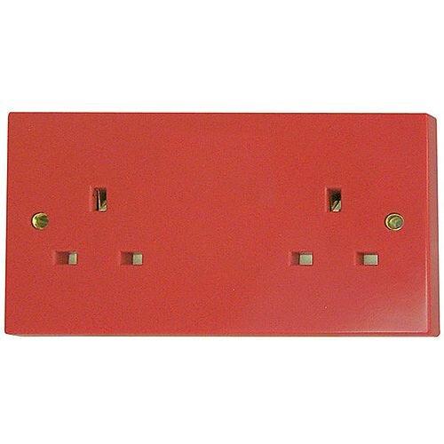 Red 2 Gang 13a Socket Outlet
