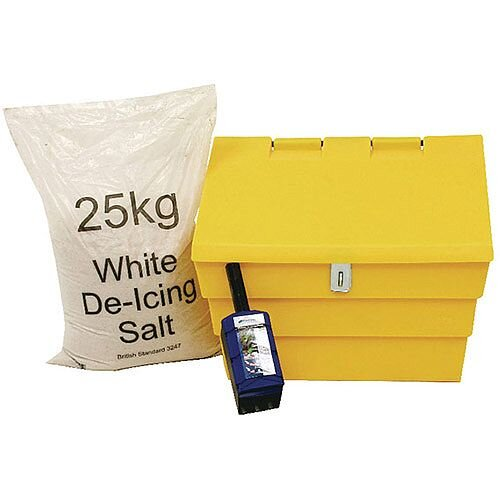 50 Litre Lockable Yellow Grit Bin and 25kg Salt Kit (Pack of 1) 389116