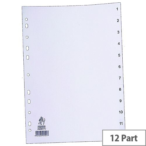 Index A4 1-12 Part Polypropylene White Subject Dividers WX01354