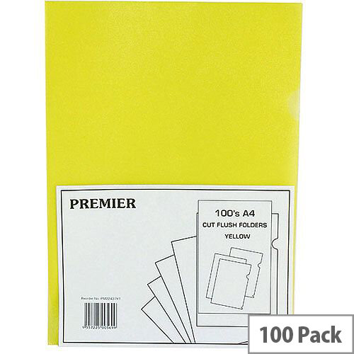 Cut Flush Folder Yellow A4 Pack of 100 WX01487