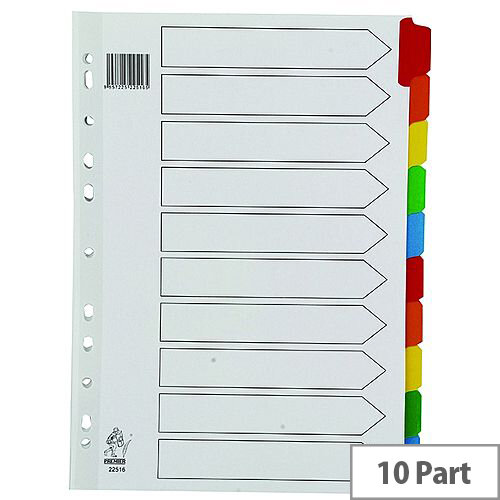 A4 Mylar Subject Divider 10-Part Multi-Colour WX01526