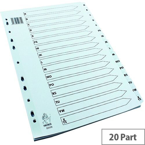 A4 Mylar Index A-Z White Subject Dividers WX01532