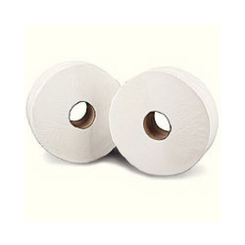 Mini Jumbo Toilet Roll 2-Ply 17.5cm H  x 9cm W Metres White Pack of 12 J26150