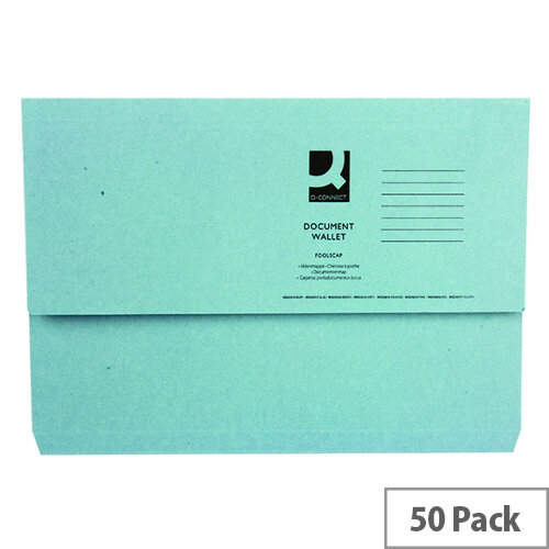 Q Connect Document Wallet 220gsm Foolscap Blue Pack of 50 WX23011A