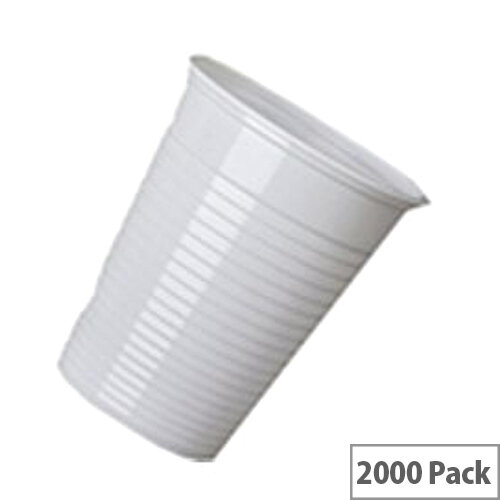 Disposable Plastic Hot or Cold Drinks Vending Cups 7oz/200ml White [Pack of 2000] WX43096