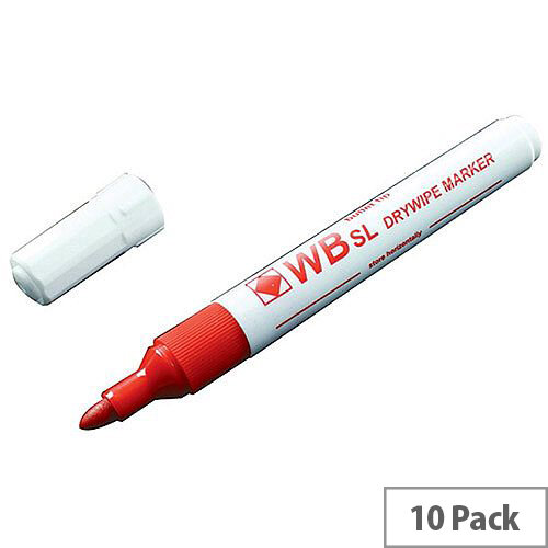 Whiteboard Marker Bullet Tip Red 10 Pack WX98003