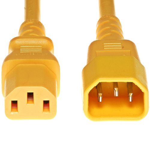 Power Cable C13 to C14 Extension Cord Male-Female IEC (3 Pin Plug) - Yellow - 3 Metre Length