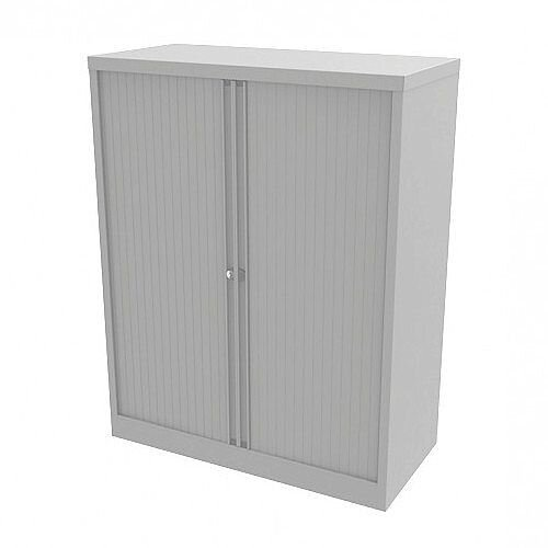 Bisley Side Opening Tambour Door Cupboard H1270xW1000xD470mm White - Supplied Empty, Variety of Shelves &Suspension Filing Roll Out Frames Available