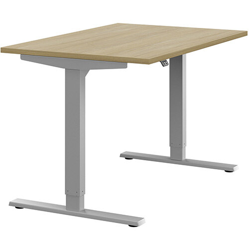 Zoom Height Adjustable Sit Stand Office Desk Plain Top W1200mmxD800mmxH685-1185mm Urban Oak Top Silver Frame - Prevents &Reduces Muscle &Back Problems, Poor Circulation &Increases Brain Activity.