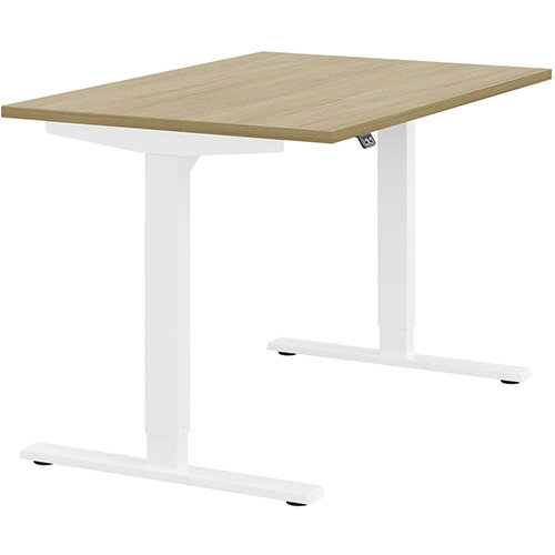 Zoom Height Adjustable Sit Stand Office Desk Plain Top W1200mmxD800mmxH685-1185mm Urban oak Top White Frame - Prevents &Reduces Muscle &Back Problems, Poor Circulation &Increases Brain Activity.