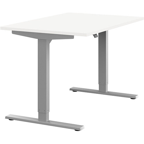 Zoom Height Adjustable Sit Stand Office Desk Plain Top W1200mmxD800mmxH685-1185mm White Top Silver Frame - Prevents &Reduces Muscle &Back Problems, Poor Circulation &Increases Brain Activity.