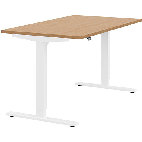 Zoom Height Adjustable Sit Stand Office Desk Plain Top W1400mmxD800mmxH685-1185mm Beech Top White Frame - Prevents &Reduces Muscle &Back Problems, Poor Circulation &Increases Brain Activity.