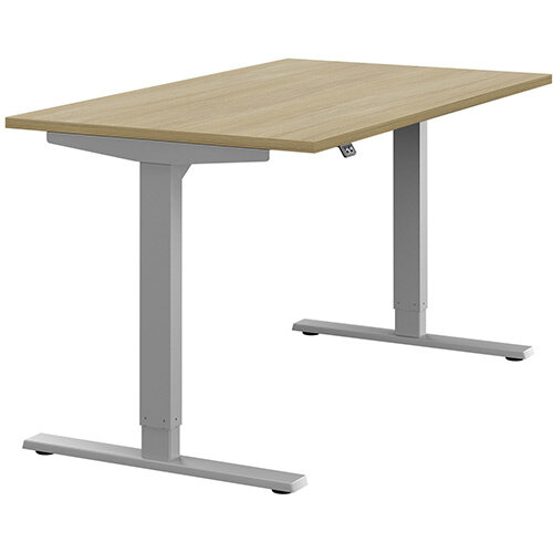 Zoom Height Adjustable Sit Stand Office Desk Plain Top W1400mmxD800mmxH685-1185mm Urban Oak Top Silver Frame - Prevents &Reduces Muscle &Back Problems, Poor Circulation &Increases Brain Activity.