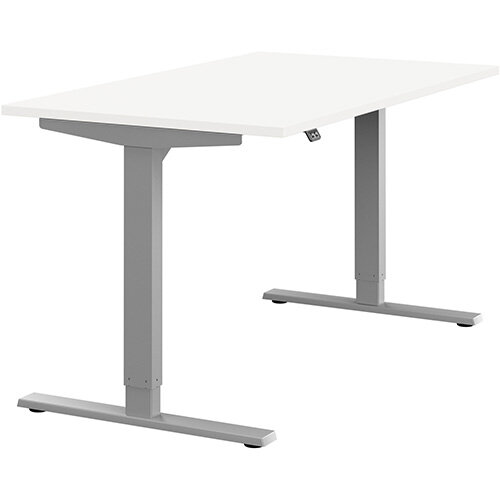 Zoom Height Adjustable Sit Stand Office Desk Plain Top W1400mmxD800mmxH685-1185mm White Top Silver Frame - Prevents &Reduces Muscle &Back Problems, Poor Circulation &Increases Brain Activity.