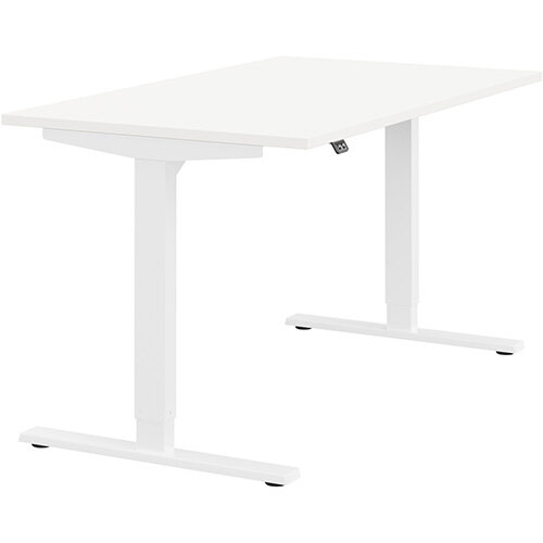 Zoom Height Adjustable Sit Stand Office Desk Plain Top W1400mmxD800mmxH685-1185mm White Top White Frame - Prevents &Reduces Muscle &Back Problems, Poor Circulation &Increases Brain Activity.