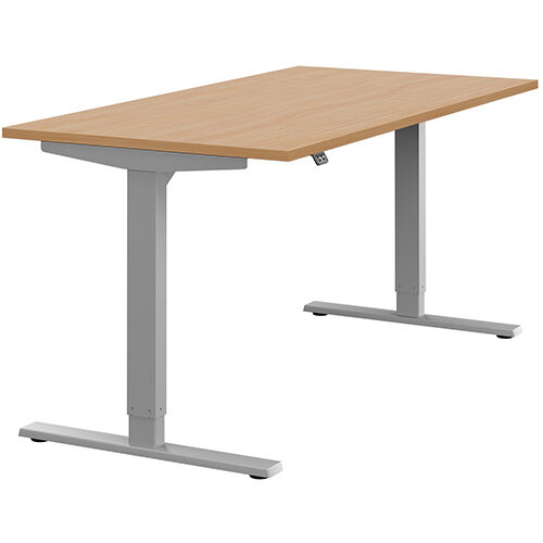 Zoom Height Adjustable Sit Stand Office Desk Plain Top W1600mmxD800mmxH685-1185mm Beech Top Silver Frame - Prevents &Reduces Muscle &Back Problems, Poor Circulation &Increases Brain Activity.