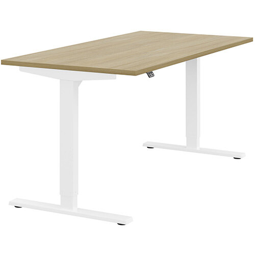 Zoom Height Adjustable Sit Stand Office Desk Plain Top W1600mmxD800mmxH685-1185mm Urban oak Top White Frame - Prevents &Reduces Muscle &Back Problems, Poor Circulation &Increases Brain Activity.