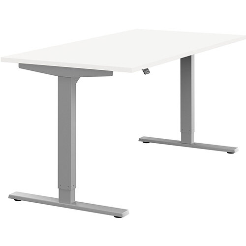 Zoom Height Adjustable Sit Stand Office Desk Plain Top W1600mmxD800mmxH685-1185mm White Top Silver Frame - Prevents &Reduces Muscle &Back Problems, Poor Circulation &Increases Brain Activity.