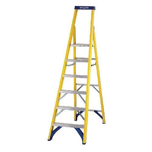 Abru Fibreglass Platform Stepladder 6-Tread Top Tread Height 1.41m Max Height 3.16m Yellow