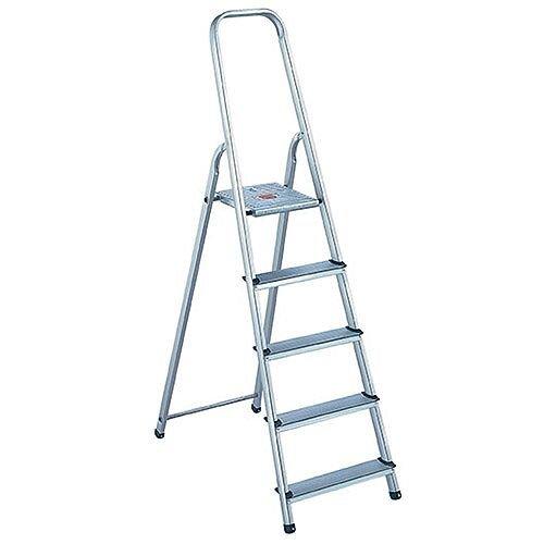 Alumiunium Step Ladder 5 Steps Plus Height 0.98m Silver 358739