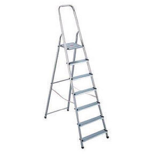 Alumiunium Step Ladder 7 Steps Plus Height 1.45m Sliver 358741