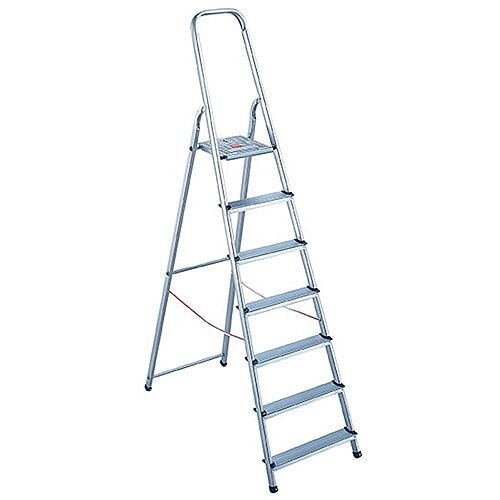 Alumiunium Step Ladder 8 Steps Plus Height 1.62m Silver 358742