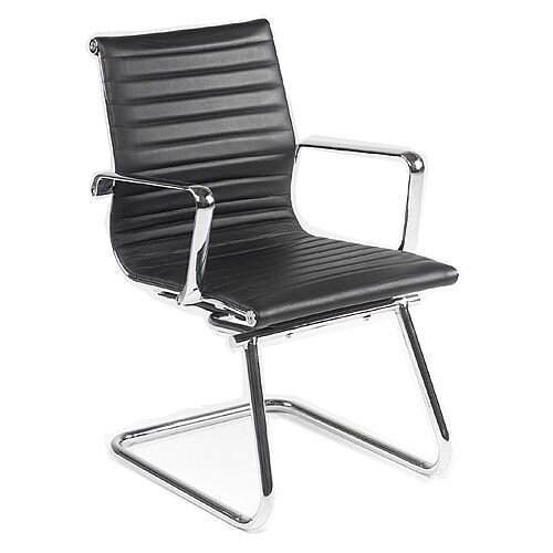 Aria A Medium Back Designer Leather Chrome Cantilever Arm Chair Black AMCA