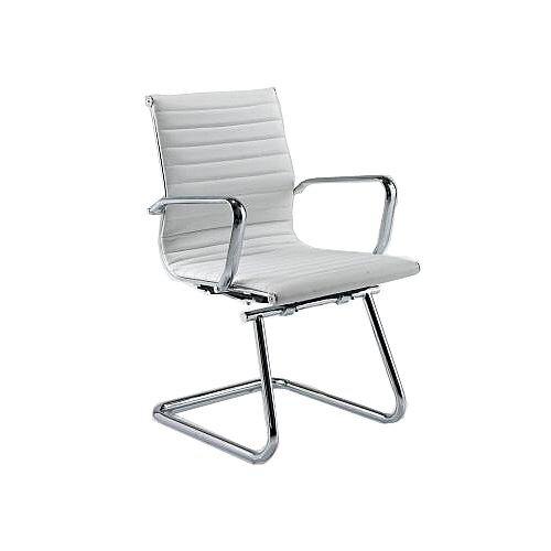 Aria A Medium Back Designer Leather Chrome Cantilever Arm Chair White AMCA