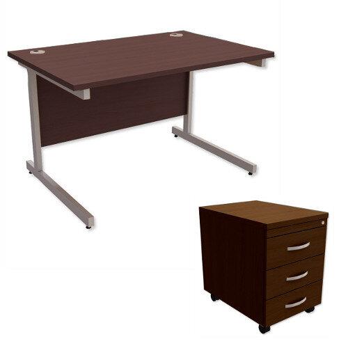 office desk rectangular silver legs w1200mm with mobile 3drawer pedestal dark walnut ashford office desk walnut27 walnut