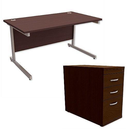Office Desk Rectangular Silver Legs W1400mm With 800mm Deep Desk High Pedestal Dark Walnut Ashford