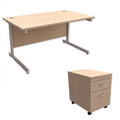 Office Desk Rectangular Silver Legs W1400mm With Mobile 2 Drawer Pedestal  Maple Ashford