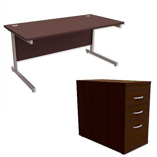 Office Desk Rectangular Silver Legs W1600mm With 800mm Deep Desk High Pedestal Dark Walnut Ashford