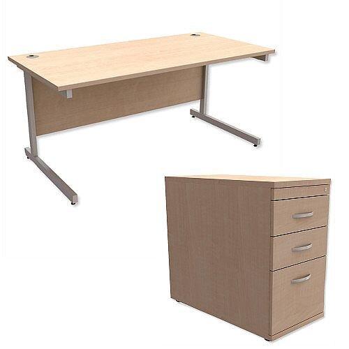Office Desk Rectangular Silver Legs W1600mm With 800mm Deep Desk High Pedestal Maple Ashford