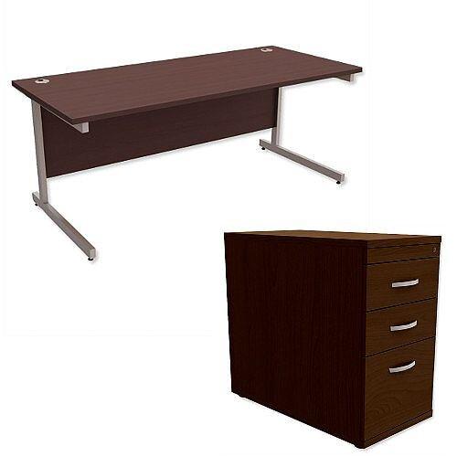 Office Desk Rectangular Silver Legs W1800mm With 800mm Deep Desk High Pedestal Dark Walnut Ashford