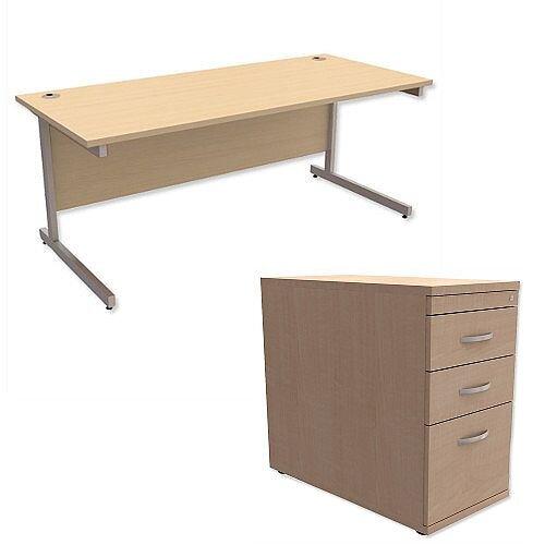 Office Desk Rectangular Silver Legs W1800mm With 800mm Deep Desk High Pedestal Maple Ashford