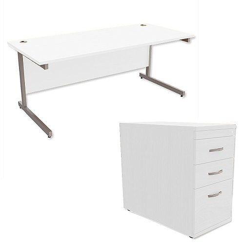 Office Desk Rectangular Silver Legs W1800mm With 800mm Deep Desk High Pedestal White Ashford