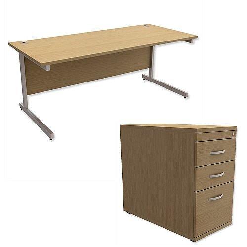 Office Desk Rectangular Silver Legs W1800mm With 800mm Deep Desk High Pedestal Urban Oak Ashford  – Cantilever Desk &Extra Storage , 25 Year Warranty