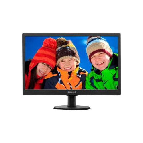 "Philips V-line 193V5LSB2 - LED Computer Monitor - 18.5"" - 1366 x 768 - 200 cd/m² - 700:1 - 5 ms - VGA - textured black, black hairline"