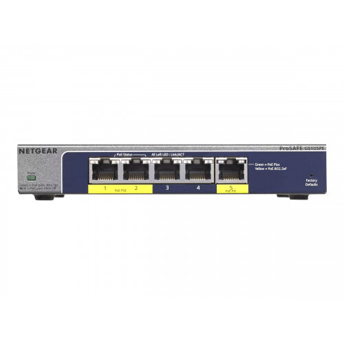 NETGEAR Plus GS105PE - Switch - unmanaged - 2 x 10/100/1000 (PoE+) + 3 x 10/100/1000 - desktop - PoE+ (19 W)