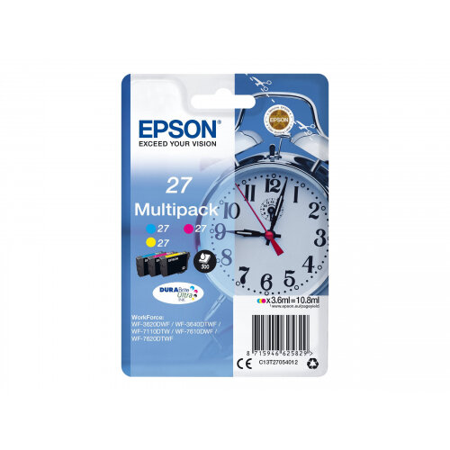 Epson 27 Multi-Pack - 3-pack - 10.8 ml - yellow, cyan, magenta - original - blister with RF/acoustic alarm - ink cartridge - for WorkForce WF-3620, WF-3640, WF-7110, WF-7610, WF-7620, WF-7715, WF-7720