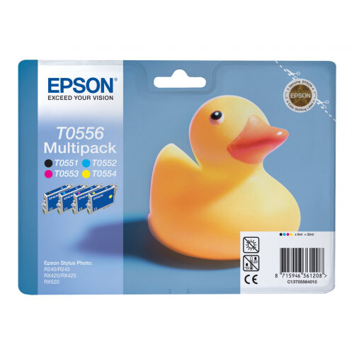 Epson T0556 Multipack - Black, yellow, cyan, magenta - original - blister - ink cartridge - for Stylus Photo R240, R245, RX420, RX425, RX520