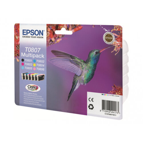 Epson T0807 Multipack - 44.4 ml - black, yellow, cyan, magenta, light magenta, light cyan - original - blister - ink cartridge - for Stylus Photo P50, PX650, PX660, PX700, PX710, PX720, PX730, PX800, PX810, PX820, PX830