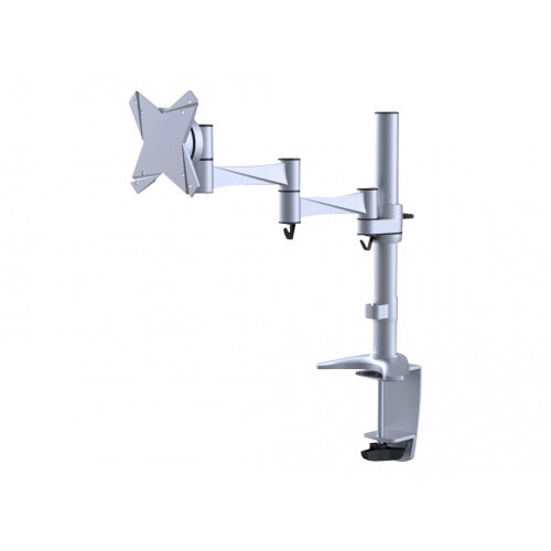 "NewStar Full Motion Desk Mount (clamp &grommet) for 10-30"" Monitor Screen, Height Adjustable - Silver - Adjustable arm for LCD display - silver - screen size: 10""-30"" - desk-mountable"