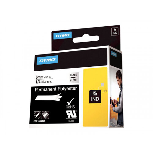 DYMO Rhino Permanent Polyester - Polyester - permanent adhesive - black on clear - Roll (0.6 cm x 5.5 m) 1 roll(s) tape - for DYMO ILP219; Rhino 1000, 4200, 5000, 5200, 6000; RhinoPRO 1000, 3000, 5000, 6000, 6500