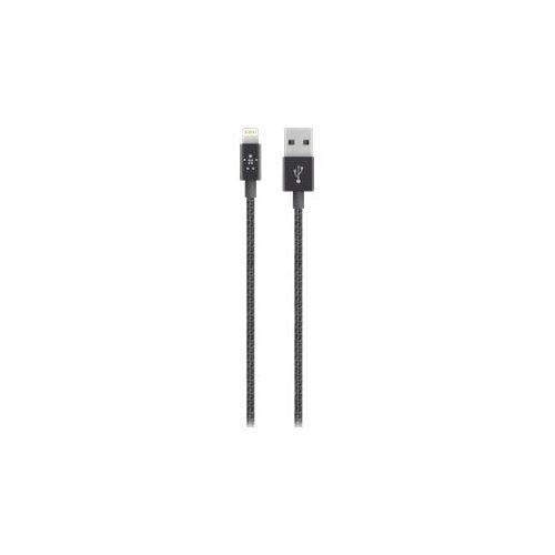 Belkin MIXIT Metallic Lightning to USB Cable - Lightning cable - Lightning (M) to USB (M) - 1.2 m - shielded - black - for Apple iPad/iPhone/iPod (Lightning)
