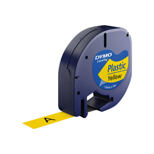 DYMO LetraTAG - Plastic - black on yellow - Roll (1.2 cm x 4 m) 1 roll(s) tape - for LetraTag LT-100H, LT-100T