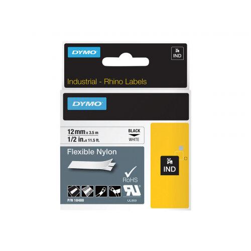 DYMO - Nylon - black on white - Roll (1.2 cm x 3.5 m) 1 roll(s) flexible tape - for DYMO 1000 Plus; LabelMANAGER 100; Rhino 4200, 6000, 6000 Hard Case Kit; RhinoPRO 5000