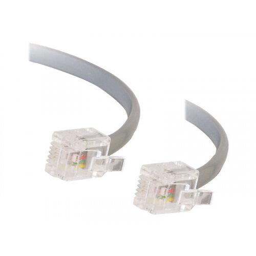 C2G RJ11 6P4C Straight Modular Cable - Phone cable - RJ-11 (M) to RJ-11 (M) - 5 m - grey