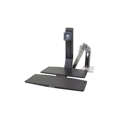 """Ergotron WorkFit-A Single LD with Worksurface+ - Stand (tray, articulating arm, desk clamp mount, pivot) for LCD display / keyboard / mouse - black, polished aluminium - screen size: up to 24"""""""