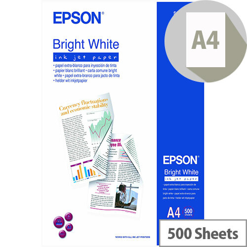 Epson Bright White Paper A4 90gsm White 500 Sheets